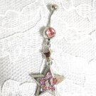 NEW DOUBLE STAR w PASTEL PINK CZ NAVEL RING BELLY BUTTON RING BODY JEWELRY