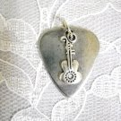 ROCKER PEWTER GUITAR PICK & FANCY DESIGN GUITAR CHARM PENDANT ADJ NECKLACE
