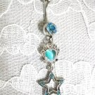 NEW BABY BLUE HEART & STAR DOUBLE CHARM 14g CZ BELLY RING BARBELL BODY JEWELRY