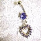 LAVENDER LILAC PURPLE HEART CHARM CZ BELLY BUTTON RING BODY JEWELRY