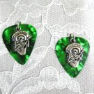 DEEP GREEN GUITAR PICK w MEXICAN SKELETON SOMBRERO GUITAR PLAYER CHARM EARRINGS