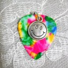 RAINBOW GUITAR PICK W SMILEY FACE DISC CHARM PENDANT NECKLACE