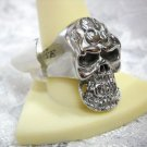 WILD FLAMES ON EVIL SKULL BIKER / RIDER JEWELRY STAINLESS STEEL RING UNISEX SZ 12