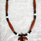 EXOTIC ROSE WOOD CARVED TURTLE  w BONE & CERAMIC BEADED PENDANT NECKLACE