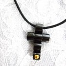 NEW BLACK STAINLESS STEEL TUBE CROSS w BRASS ACCENT PENDANT ADJ NECKLACE