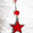 PEWTER RED ROCK STAR PENDANT w RED CZ STAINLESS STEEL NAVEL BELLY RING