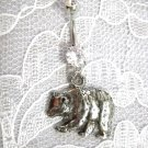 PEWTER POLAR BEAR PENDANT ON STAINLESS STEEL w CLEAR CZ STONES NAVEL BELLY RING
