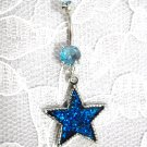PEWTER BRIGHT BLUE STAR PENDANT w BLUE CZ'S STAINLESS STEEL NAVEL BELLY RING