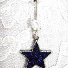 PEWTER DEEP PURPLE STAR PENDANT w CLEAR CZ'S STAINLESS STEEL NAVEL BELLY RING