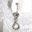 NEW ELEGANT TEAR DROP w CLEAR CUBIC ZIRCONIA BELLY RING NAVEL RING BODY JEWELRY