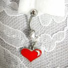STAINLESS STEEL RED & WHITE ENAMEL HEART w CLEAR CZ NAVEL BELLY RING