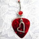 HEART CHARM on DEEP RED GUITAR PICK w RED CUBIC ZIRCONIA NAVEL BELLY RING