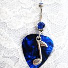 MUSIC NOTE on BLUE GUITAR PICK w COBALT BLUE CUBIC ZIRCONIA BELLY BUTTON RING
