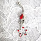 SLE RED GEM STAR CHARM w RED CUBIC ZIRCONIA BELLY RING BODY JEWELRY
