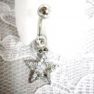 NEW DAZZLING STAR CHARM w CLEAR CUBIC ZIRCONIA NAVEL BELLY RING BODY JEWELRY