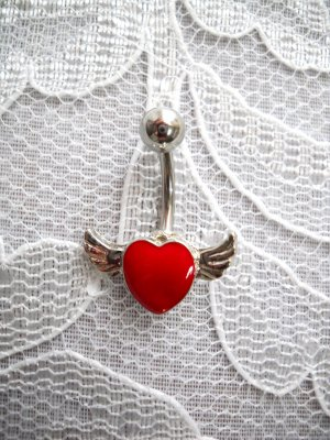 FUN LOVE FLYING RED HEART w ANGEL WINGS BELLY BUTTON RING NAVEL JEWELRY