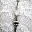 NEW HUMAN CRANIUM SKULL KEY w CLEAR CZ 14g NAVEL BAR BELLY RING