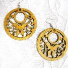 DIRTY BLONDE HAND STAINED LIGHT BROWN WOOD w SWIRLING SCROLL DETAIL & BUTTERFLY CUT OUT EARRINGS