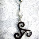 MAORI TRIBAL DARK OCEAN WARRIOR SWIRL TWIST TATTOO ART 14g CLEAR CZ UNISEX BELLY RING BARBELL