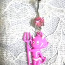 PINK ENAMEL BABY DEVIL w PITCHFORK HORNS & TAIL w A PINK CZ NAVEL BELLY RING