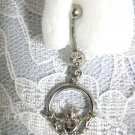 NEW 14g FRIENDSHIP CELTIC CLADDAGH w CLEAR CUBIC ZIRCONIA STONE SS NAVEL BELLY RING