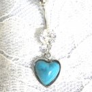 NATIVE SPIRIT HEART w BLUE TURQUOISE GEM ON CLEAR CZ BELLY BUTTON RING