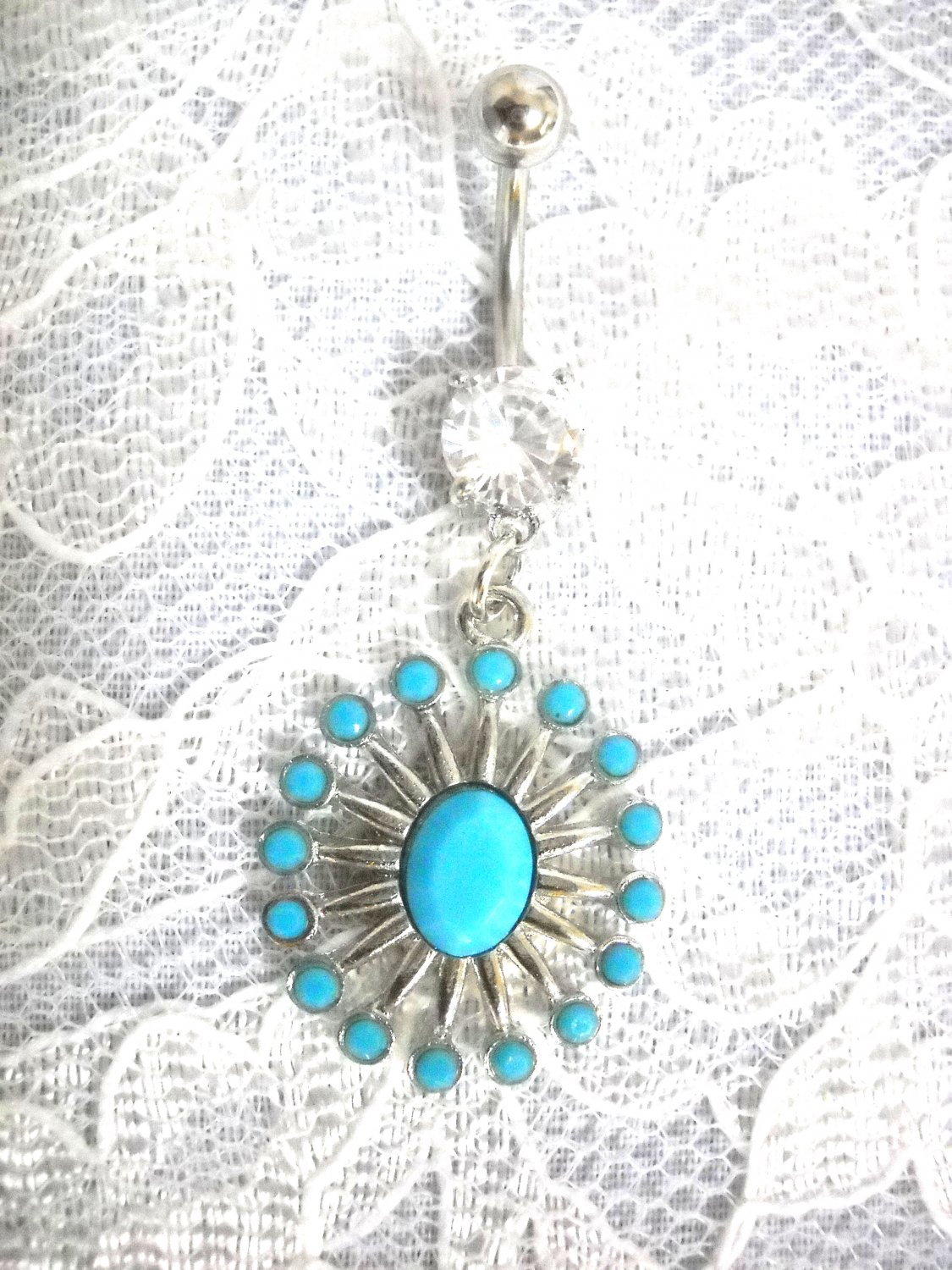 NATIVE STYLE NEEDLEPOINT BURST TURQUOISE BLUE GEMS CLEAR CZ BELLY BUTTON RING