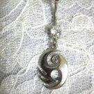 MAORI ISLAND TRIBAL SWIRL TATTOO ART w 14g 316L CLEAR CZ BELLY BUTTON RING