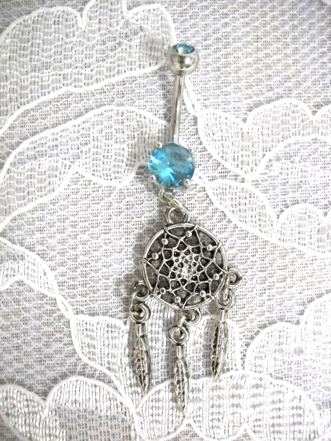 NEW NATIVE DREAM SPIRIT WEB  3 FEATHERS ON BABY BLUE CZ 14g NAVEL RING