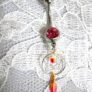STERLING SILVER DREAM CATCHER w FEATHER & PINK CZ NAVEL BELLY BUTTON RING