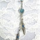 SOUTHWESTERN 2 FEATHER w BLUE INLAY DANGLING CHAIN on BABY BLUE 14g CZ NAVEL BELLY RING