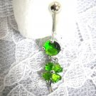 GREEN LUCK OF THE IRISH 4 LEAF CLOVER LIME GREEN CZ BELLY NAVEL RING BARBELL