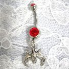 INVERTED CAVE DWELLER HANGING VAMPIRE BAT CHARM 14g RED CZ NAVEL BELLY RING
