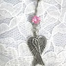 TWIN ANGEL WINGS / WING CHARM ON PINK CZ NAVEL BELLY RING