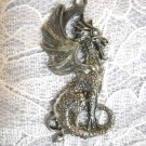VINTAGE DETAILED PET DRAGON / BEARDED DRAGON PEWTER PENDANT NECKLACE