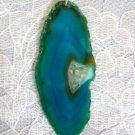 BRAZIL SPECIMEN TEAL BLUE AGATE STONE SLAB CRYSTAL SPOT CHAKRA PENDANT NECKLACE