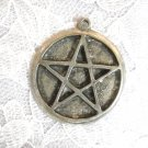 VINTAGE PEWTER ROUND w 5 POINT PENTACLE STAR PENDANT ADJ NECKLACE
