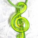 NEW GLASS G CLEF MUSIC SYMBOL LIME GREEN & BRONZE SHIMMER PENDANT SUEDE NECKLACE