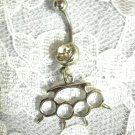 SPIKED BRASS KNUCKLES DUSTER CHARM ON CLEAR CZ BELLY BUTTON RING