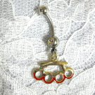 GOLD PLATED & RED LINE BRASS KNUCKLES DUSTER w CLEAR CZ BELLY BAR NAVEL RING