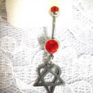 LOVE METAL MOVEMENT VILLE VALO HIM / H.E.R. HEARTAGRAM CHARM w DBL RED CZ BELLY BUTTON RING