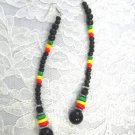 LONG RASTA COLOR RED YELLOW GREEN BLACK BEADED STRAND DANGLING EARRINGS