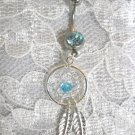 NATIVE SPIRIT WEB DREAMCATCHER w BLUE CRYSTAL & 2 FEATHERS ON 14g BLUE CZ BELLY BUTTON RING