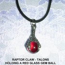 DINOSAUR RAPTOR CLAW w RED GLASS ORB PEWTER PENDANT ADJ CORD NECKLACE