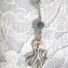 NEW DEEP SEA OCTOPUS OCEAN FISH CHARM on 14g BABY BLUE CZ BELLY RING BARBELL