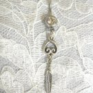 FANCY CONCHO STYLE DREAM CATCHER DANGLING FEATHER DBL CLEAR BELLY BUTTON RING