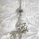 WICCA PAGAN WOVEN PENTACLE STAR & 3D WOLF DOUBLE CHARM 14g BABY BLUE CZ BELLY RING NAVEL BARBELL
