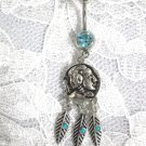 TRIBAL INDIAN HEAD COIN DREAM CATCHER w 3 FEATHERS TURQUOISE BLUE CZ BELLY BUTTON RING