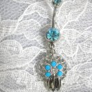 NEW NATIVE SPIRIT FLOWER GEM WEB DREAM CATCHER 14g TURQUOISE BLUE CZ BELLY RING