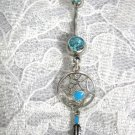 NEW NATIVE WEBBED DREAMCATCHER w DANGLING FEATHER TURQUOISE CZ BELLY BUTTON RING